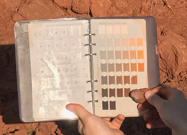 image of a person holding a Munsell color book and a soil sample to match color